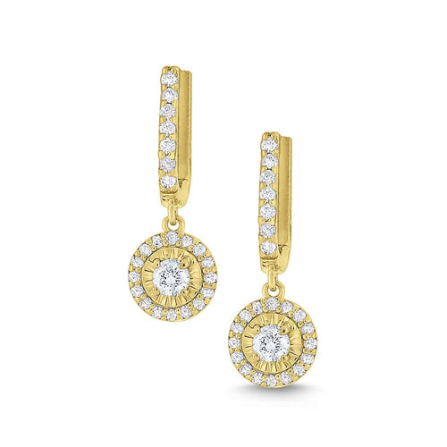 e6435 kc design round halo diamond drop earrings set in 14 kt. gold