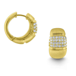 e6602 kc design diamond chunky hoop earrings set in 14 kt. brushed gold