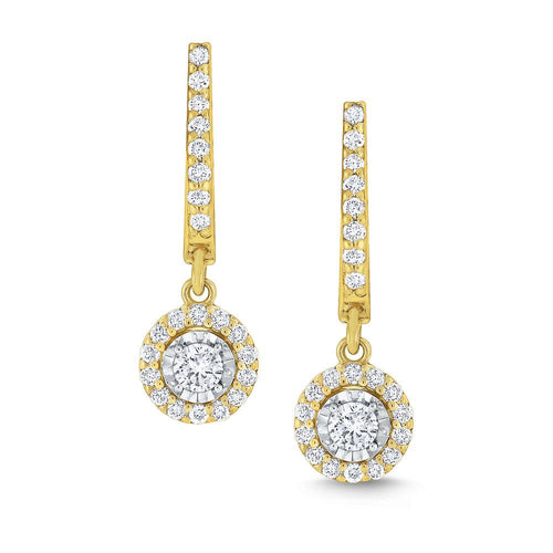 e6907 kc design round halo diamond drop earrings set in 14 kt. gold