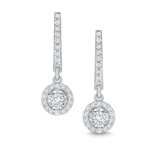e6908 kc design round halo diamond drop earrings set in 14 kt. gold