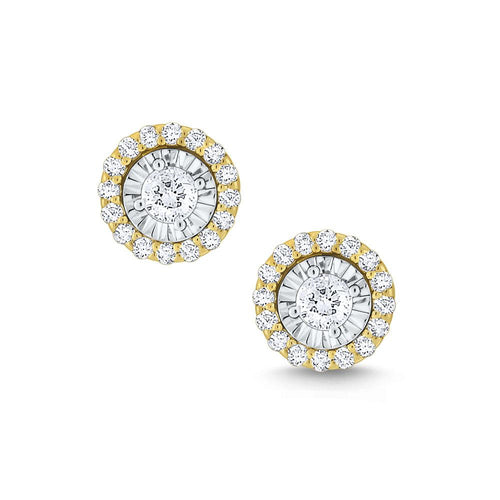 e6910 kc design round halo diamond studs set in 14 kt. gold