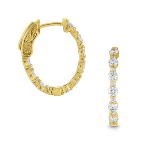 e6923 kc design diamond oval hoop earrings set in 14 kt. gold