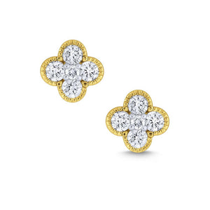 e7119 kc design gold and diamond clover stud earrings