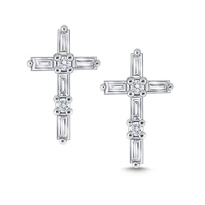 e7273 kc design diamond mosaic cross earrings set in 14 kt. gold