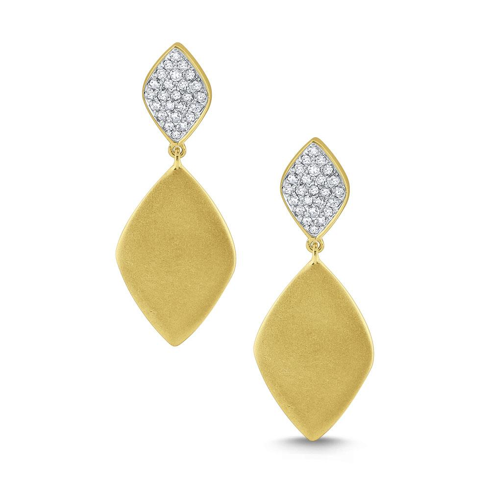 e7347 kc design diamond tag earrings set in 14 kt. brushed gold