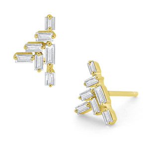 e7357 kc design diamond baguette stud earrings set in 14k gold