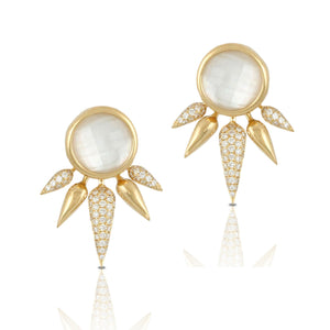 doves white orchid collection 18k yellow gold diamond earring E7566WMP