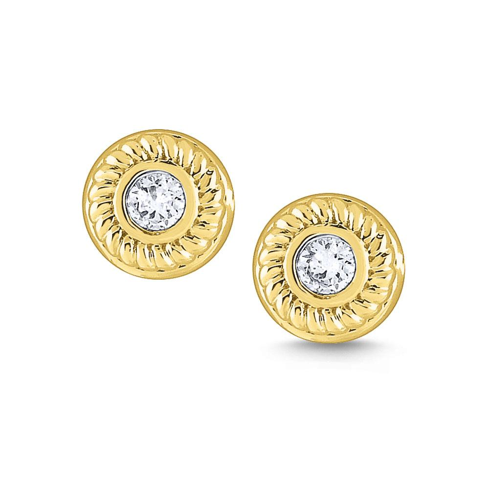 e7769 kc design gold and diamond stud earrings with braided border