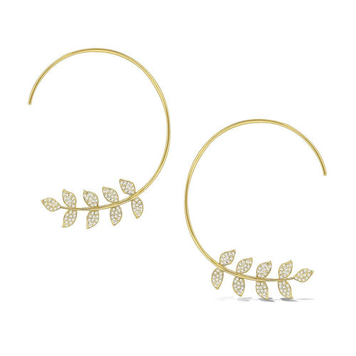e7845 kc design gold and diamond arc earrings with leaf design
