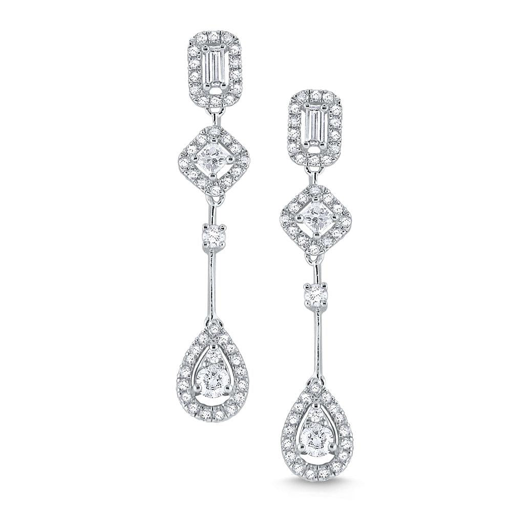 e7849 kc design 14k gold earrings accented with a mix of diamond shapes