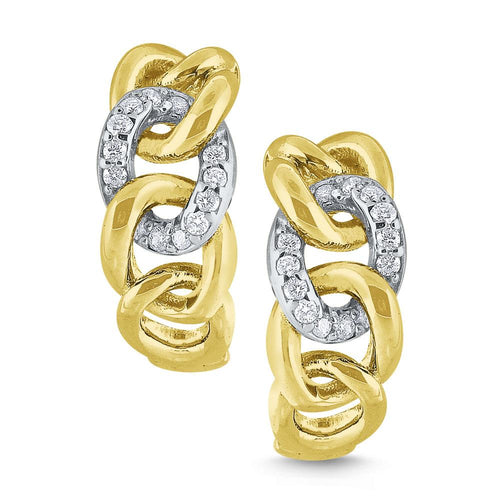 e7894 kc design 14k gold and diamond chain link hoop earrings