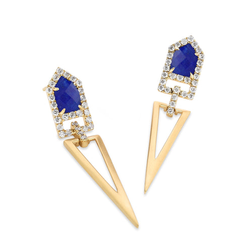 doves royal lapis collection 18k yellow gold diamond earring E8015LP
