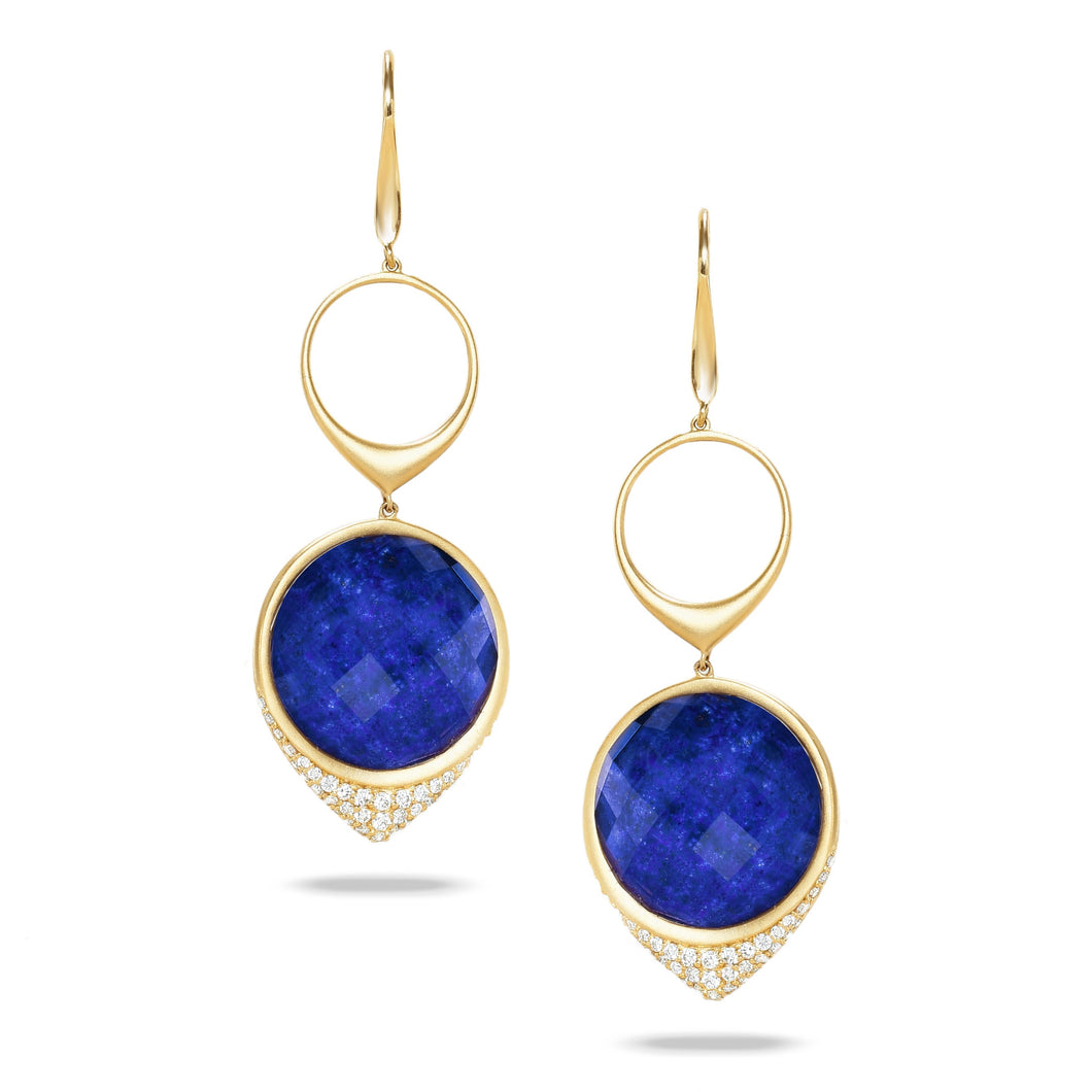 doves royal lapis collection 18k yellow gold diamond earring E8304LP