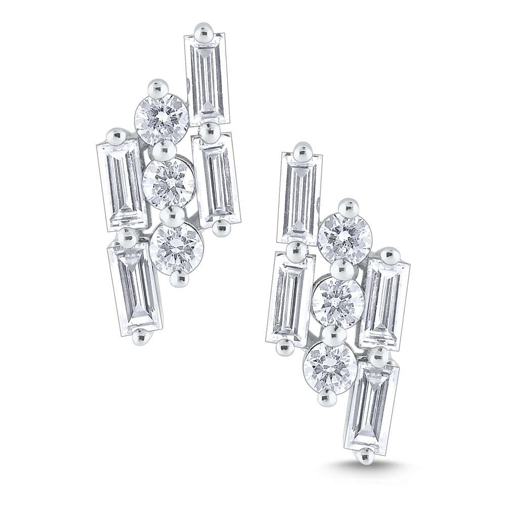 e8627 kc design 14k gold and diamond mosaic stud earrings
