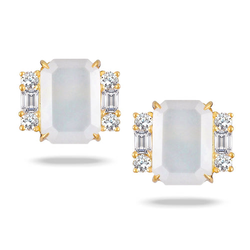 doves white orchid collection 18k yellow gold diamond earring E8701WMP