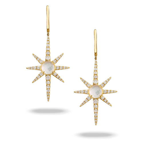 doves white orchid collection 18k yellow gold diamond earring E8723WMP