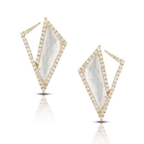 doves white orchid collection 18k yellow gold diamond earring E8862WMP