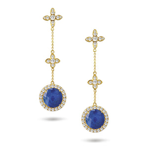 doves royal lapis collection 18k yellow gold diamond earring E8879LP
