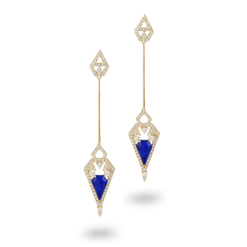 doves royal lapis collection 18k yellow gold diamond earring E8893LP