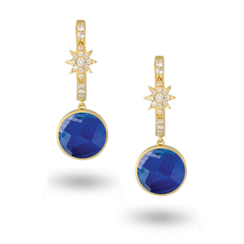 doves royal lapis collection 18k yellow gold diamond earring E8932LP