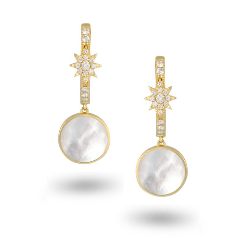doves white orchid collection 18k yellow gold diamond earring E8932WMP