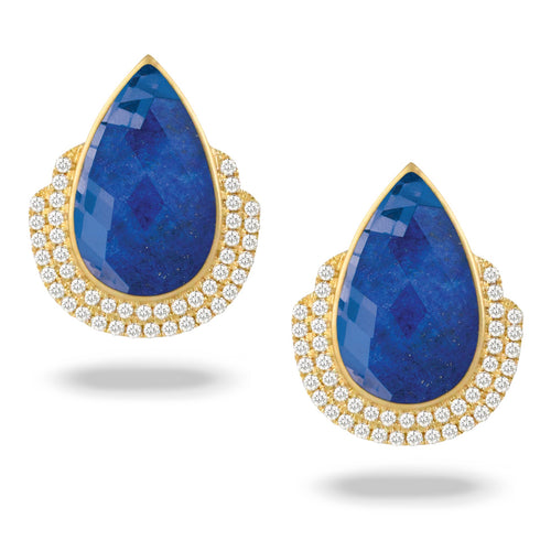 doves royal lapis collection 18k yellow gold diamond earring E8959LP