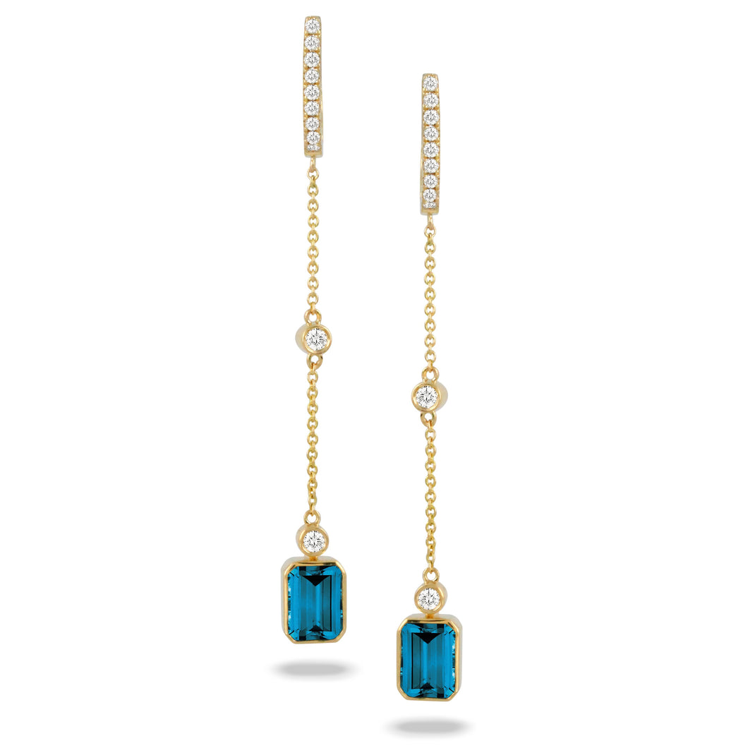 doves london blue collection 18k yellow gold diamond earring E9025LBT