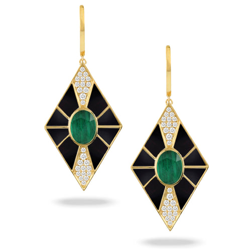 doves verde collection 18k yellow gold diamond earring E9029BOMC