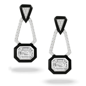 doves mondrian collection 18k white gold invisible set diamond earring E9187BO