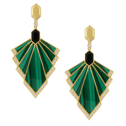 doves verde collection 18k yellow gold diamond earring E9263BOMC