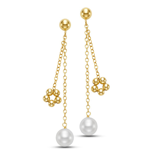 beaded charm pearl drop earrings