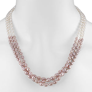 Three Row Colorblock Pearl Bib Necklace