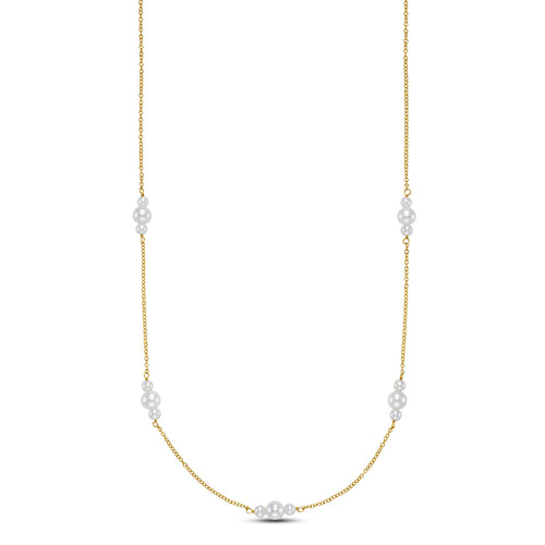 three pearl station necklace