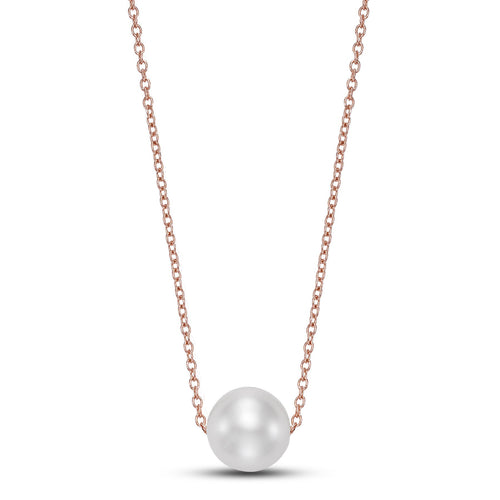rose gold floating pearl pendant necklace