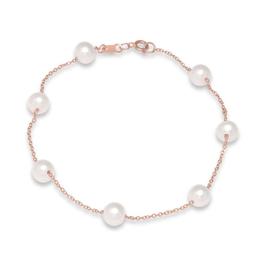 rose gold tin cup pearl bracelet