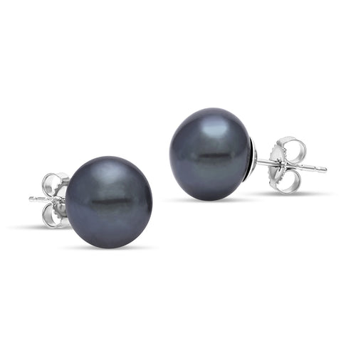 black freshwater pearl button stud earrings
