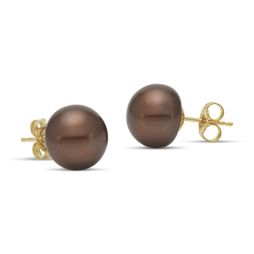chocolate freshwater pearl button stud earrings