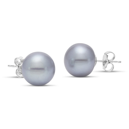 grey freshwater pearl button stud earrings