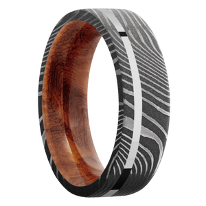 Hardwood Wedding Band With Polish & Acid Finish