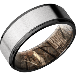 Zirconium Wedding Band With Cross Satin Silver & Polish Finish