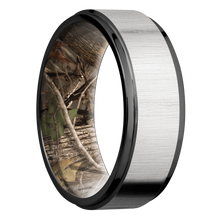 Load image into Gallery viewer, Zirconium Wedding Band With Cross Satin Silver & Polish Finish