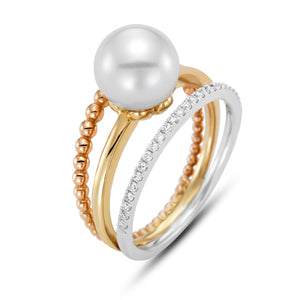 tricolor pearl ring