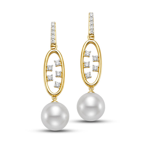 scattered diamond drop earrings