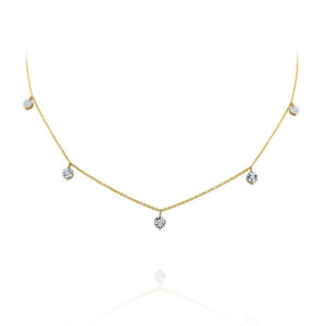 n5010 kc design hanging diamond station necklace set in 14 kt. gold