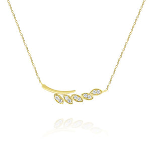 n5980 kc design diamond leaf branch necklace set in 14 kt. gold
