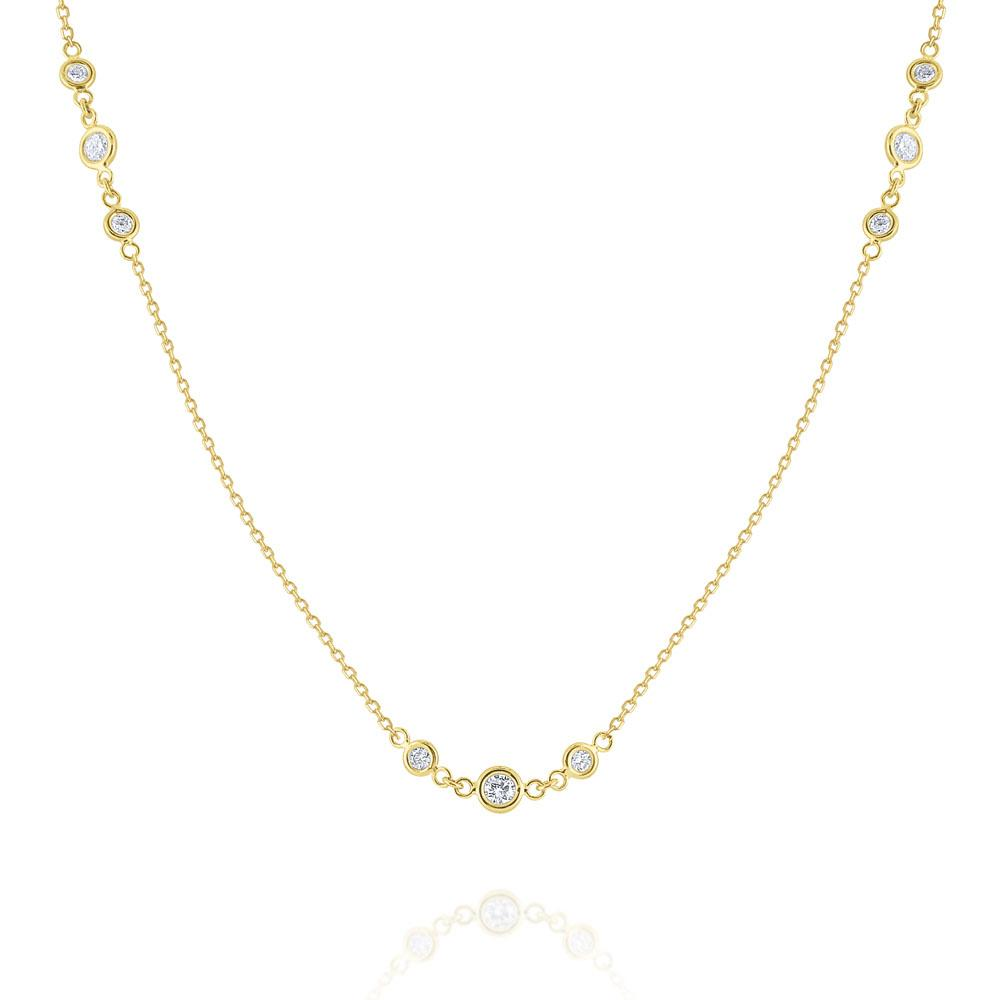 n6173 kc design triple diamond by the yard station necklace set in 14 kt. gold