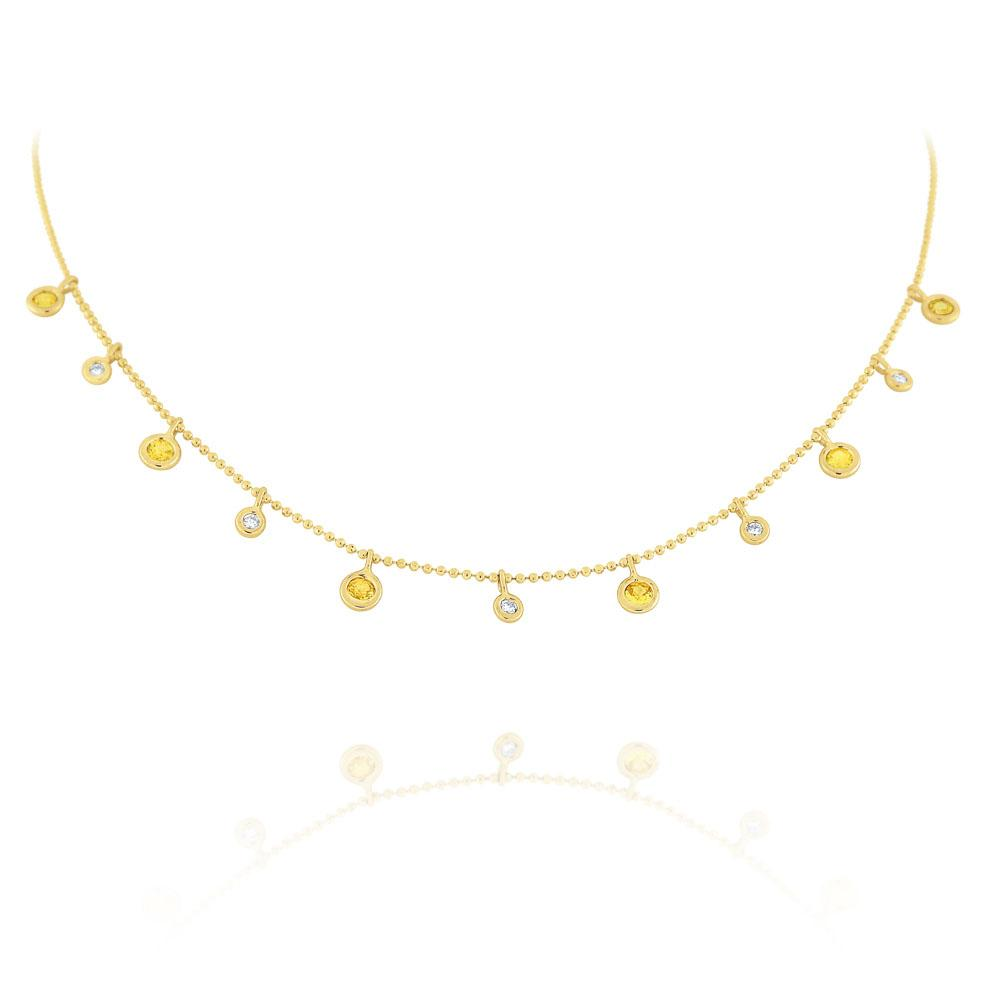 n6427 kc design diamond & yellow sapphire dew drop necklace set in 14 kt. gold