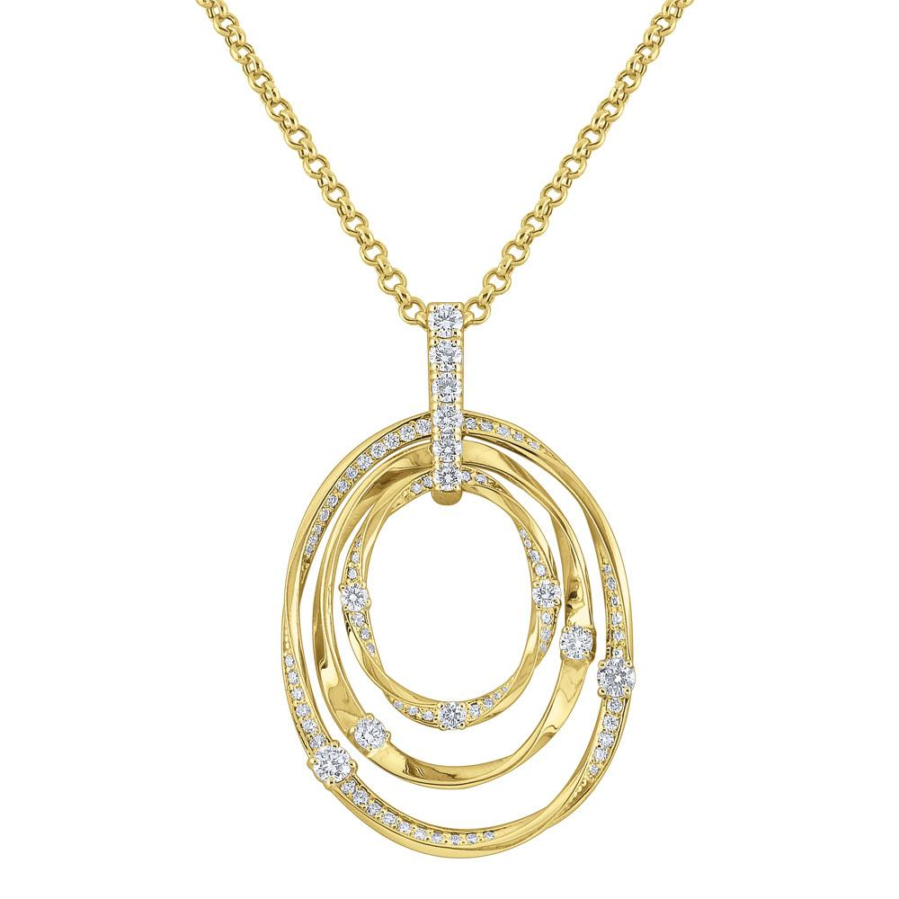 n6532 kc design diamond triple oval necklace set in 14 kt. gold