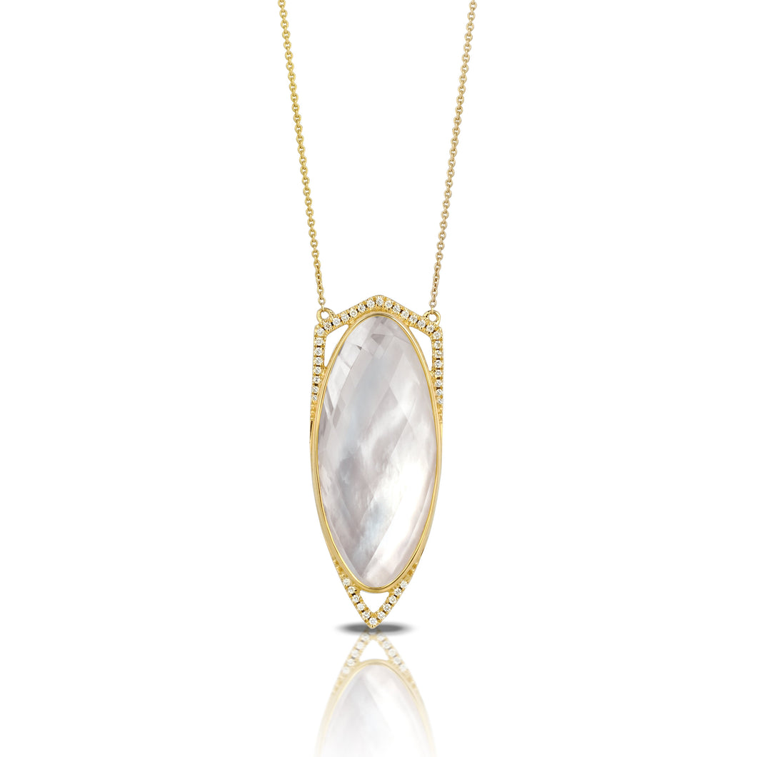 doves white orchid collection 18k yellow gold diamond necklace N6536WMP