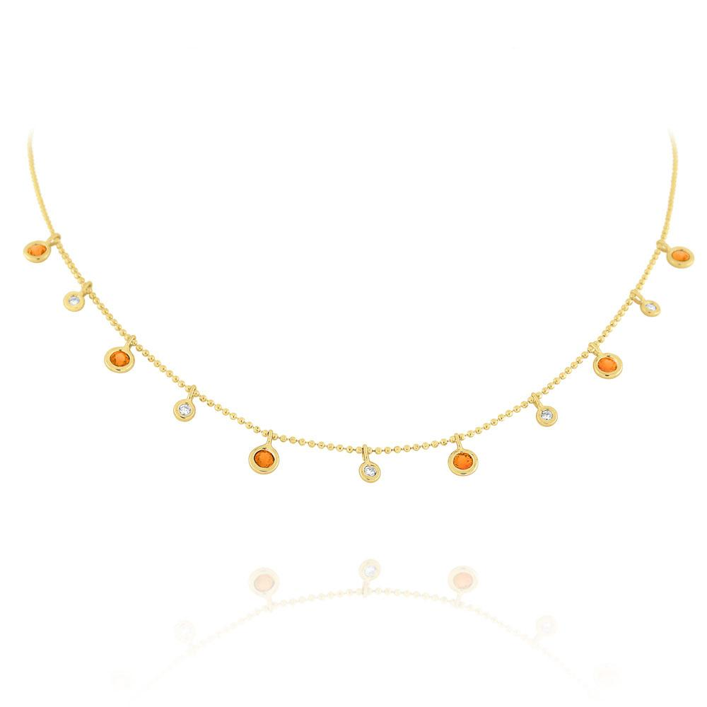 n6637 kc design diamond & orange sapphire dew drop necklace set in 14 kt. gold